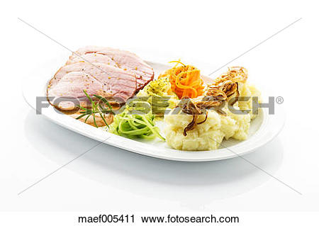 Stock Photography of Smoked pork chop, mashed potatoes with.