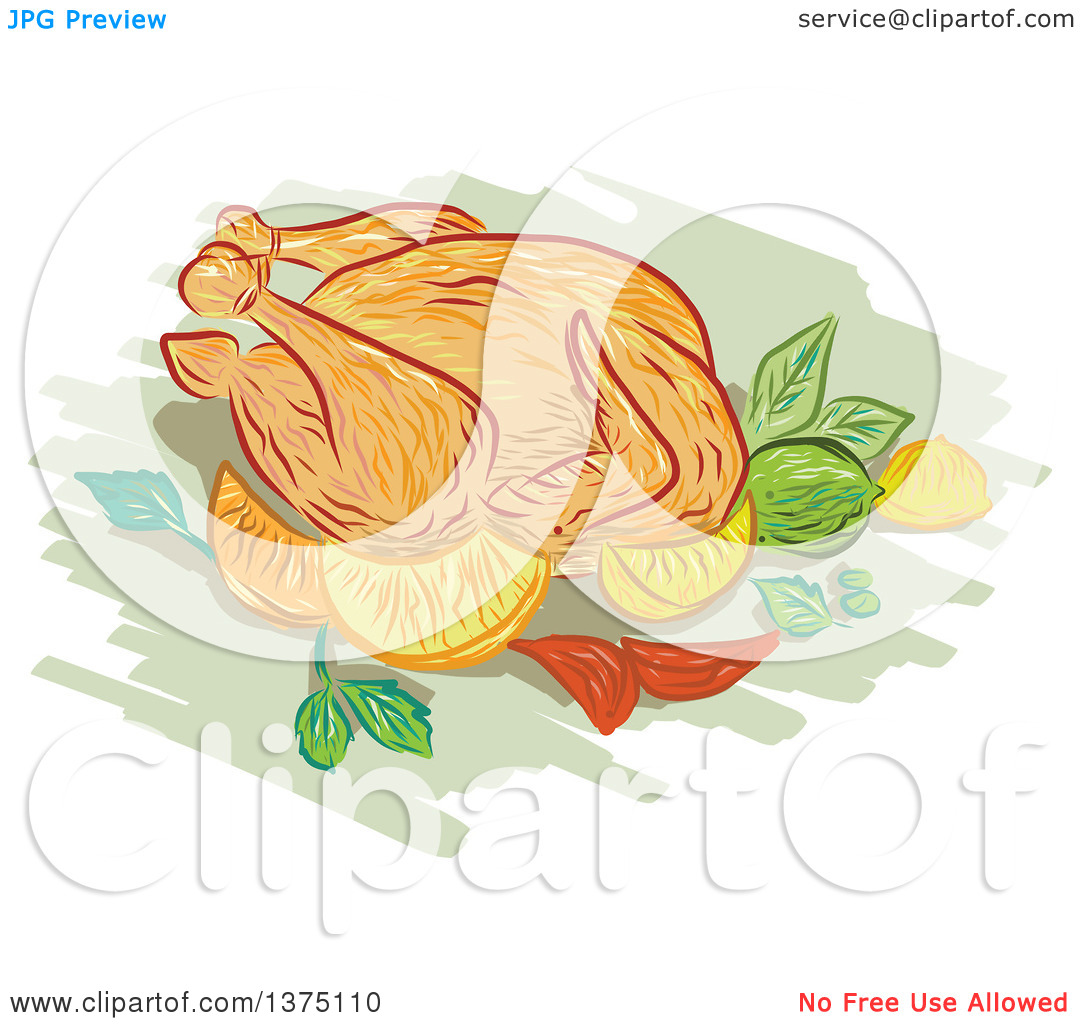 Clipart of a Sketched Roasted Chicken with Lemon, Lime, Mint.