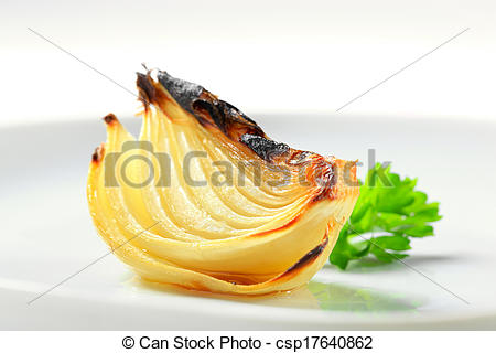 Stock Image of Pan roasted onion wedge on plate csp17640862.