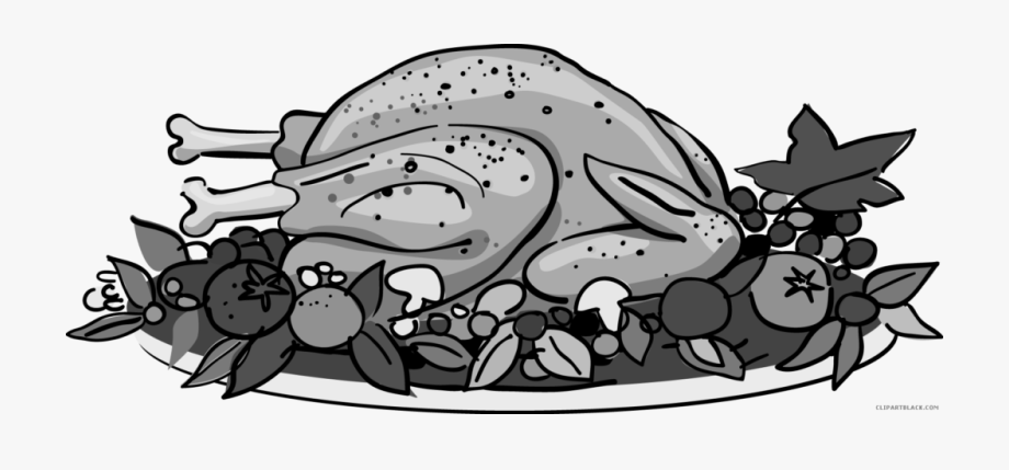 Roasted Thanksgiving Turkey Animal Free Black White.