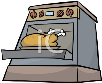 Royalty Free Clip Art Image: Turkey Roasting in an Oven.