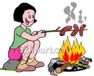 Girl Roasting Hot Dogs Over a Campfire Royalty Free Clipart.