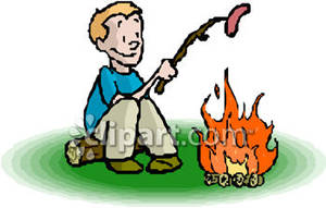 Boy Roasting a Hot Dog Over Campfire Royalty Free Clipart.