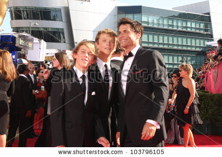 Rob Lowe And His Sons At The 61st Annual Primetime Emmy Awards.
