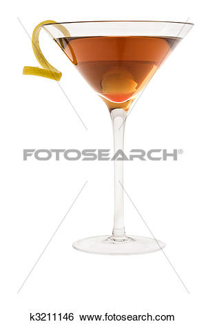Stock Images of dry manhattan cocktail or Rob Roy on a white.