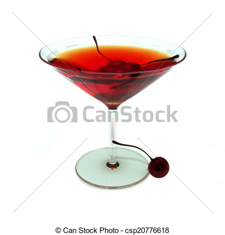 Clipart of Cocktail Manhattan or Rob Roy style with cherries.