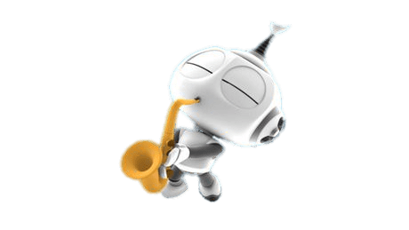 Download Free png rob the robot playing the saxophone.