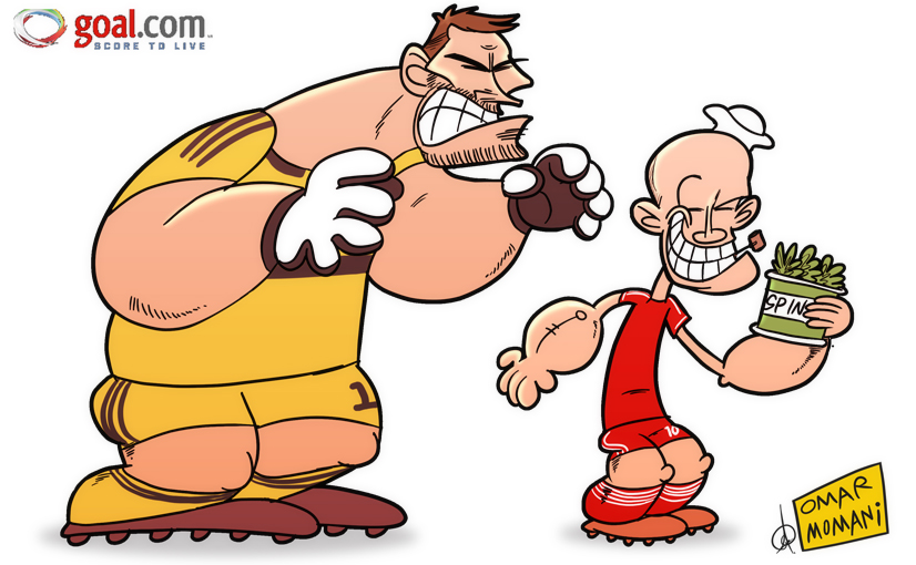Omar Momani cartoons: Robben seeks spinach strength.
