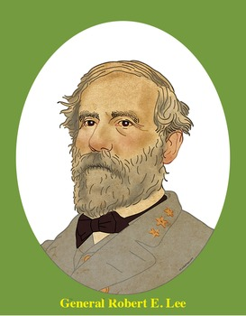 General Robert E. Lee Realistic Clip Art, Coloring Page, and Poster.