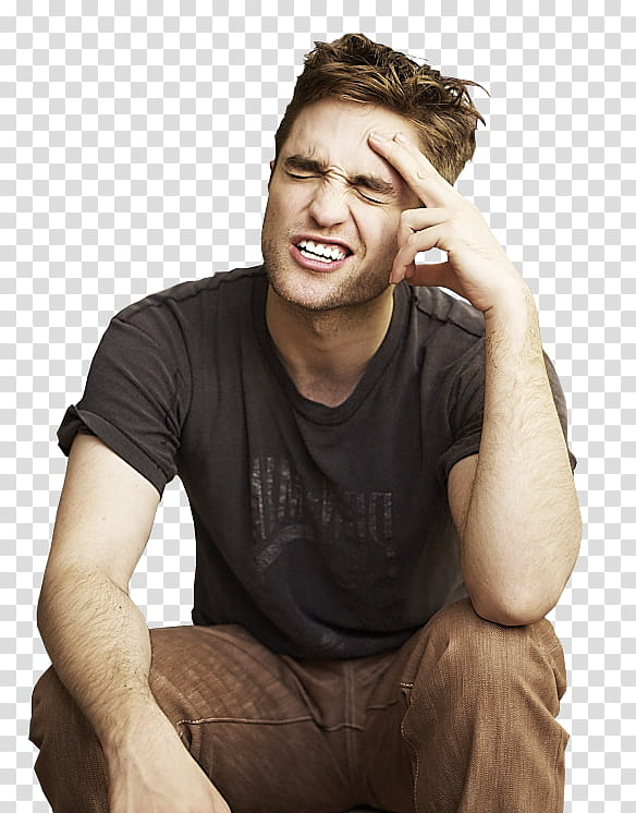 Robert Pattinson, man wears black top transparent background.