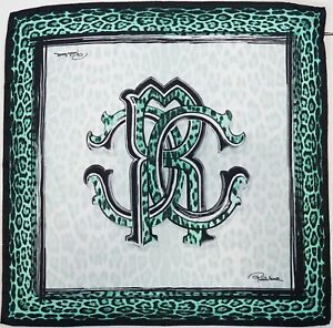 Details about NWT Authentic ROBERTO CAVALLI RC Logo & Animal Print 100%  Silk Scarf Foulard.