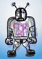 Robi, The Sad Robot stock vectors.