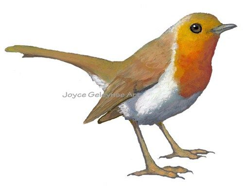 Printable Clip Art: English Robin, Bird, Oil Pastel Art.