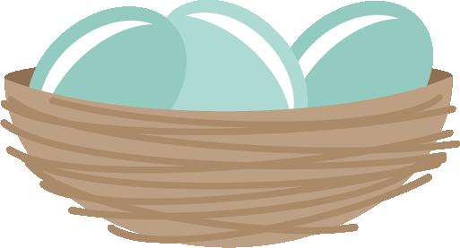 Bird nest with eggs clipart.