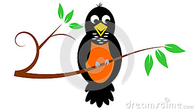 Robin On Branch Royalty Free Stock Photos.