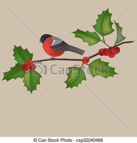 Vector Clipart of tree branch with a robin.