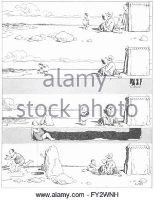 Heath Robinson: Modesty, Vintage Print 1920 Stock Photo, Royalty.