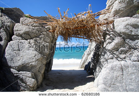 Beach Paradise, Shelter Cove Of Robinson Crusoe Stock Photo.