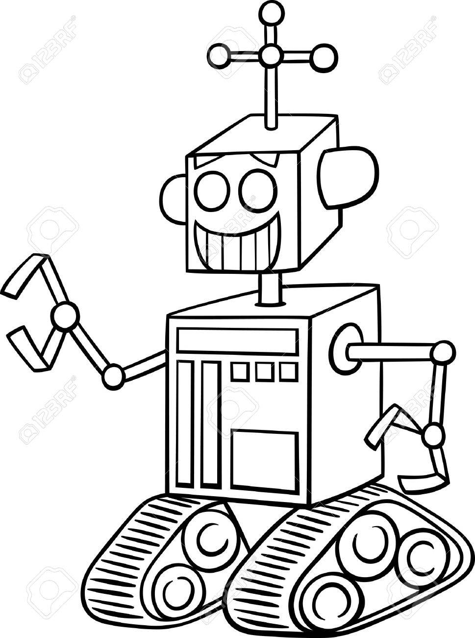 Robot black and white clipart 4 » Clipart Station.