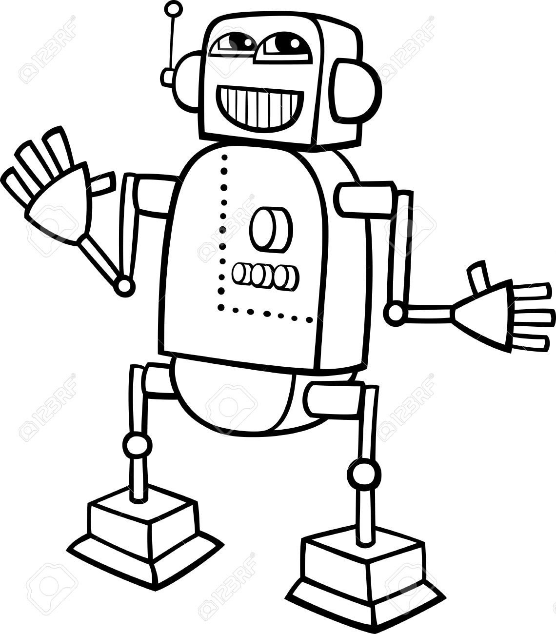 Robot clipart black and white 1 » Clipart Station.