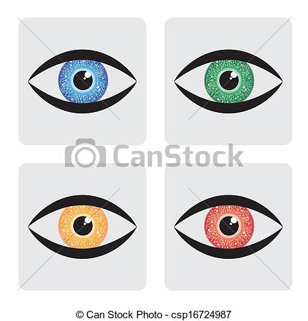 Vector of red, yellow, blue green human eye icons with circuit in.