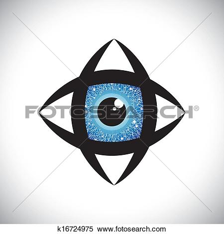 Clipart of abstract colorful human eye icon with electronic.