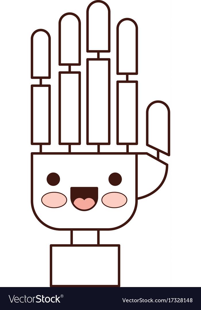 Robot hand cartoon kawaii in monochrome silhouette.