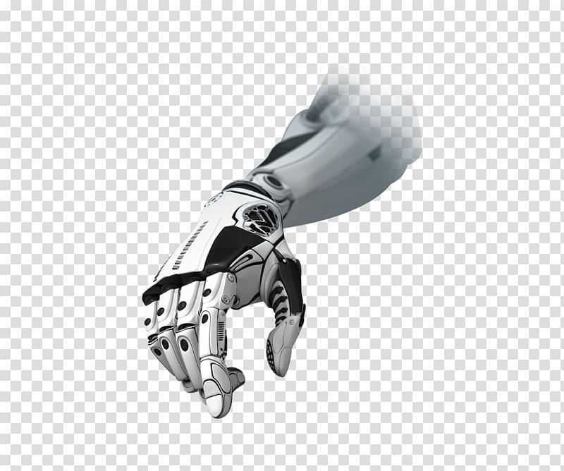 White and black robotic hand illustration, Technology.