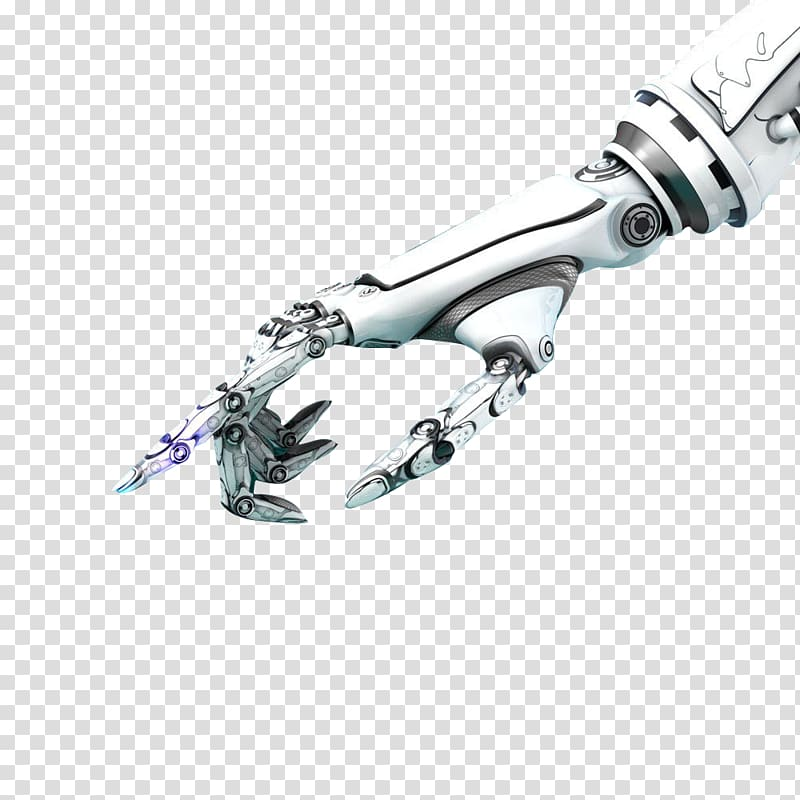 White and gray robot hand pointing its index finger, Robot.