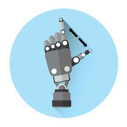 Modern Robot Hand Finger Touch Screen Icon Clipart Image.