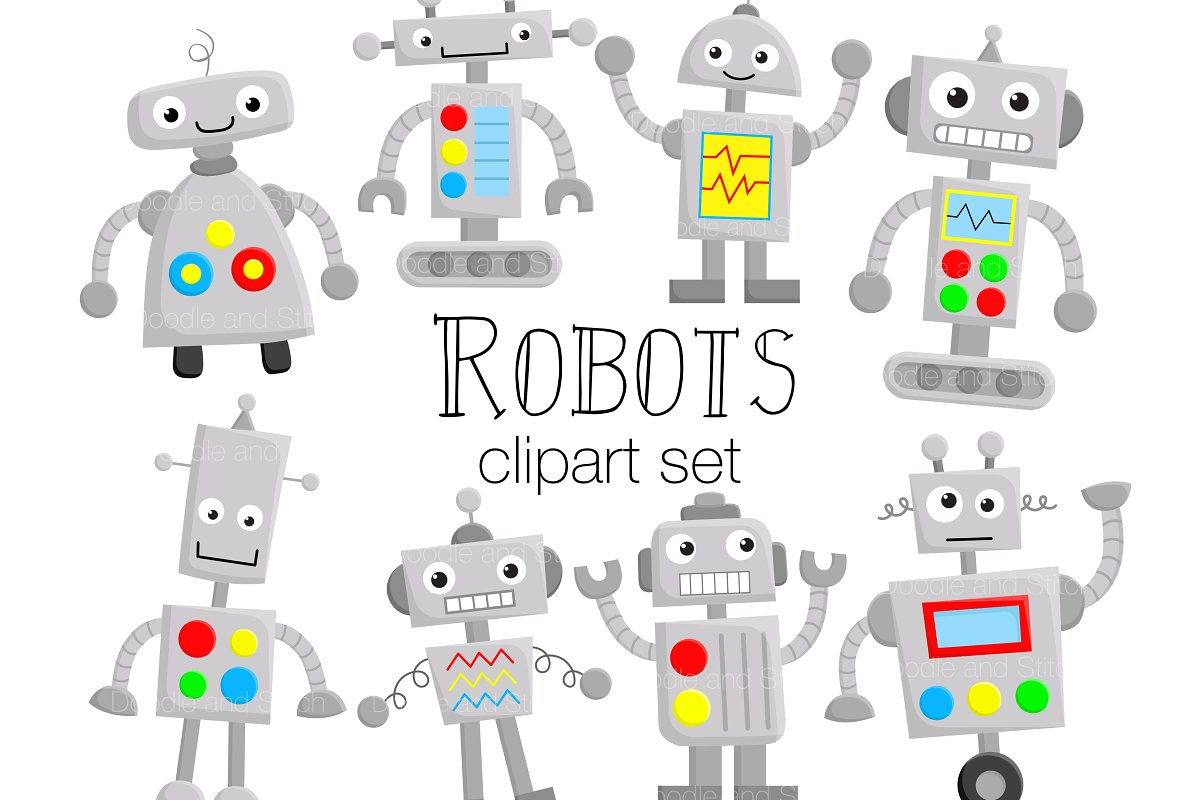Cute Robots Clipart Illustrations.