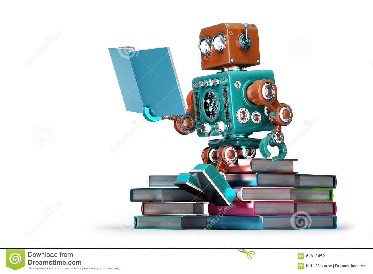 Robot Reading A Book Royalty Free Stock Photography.