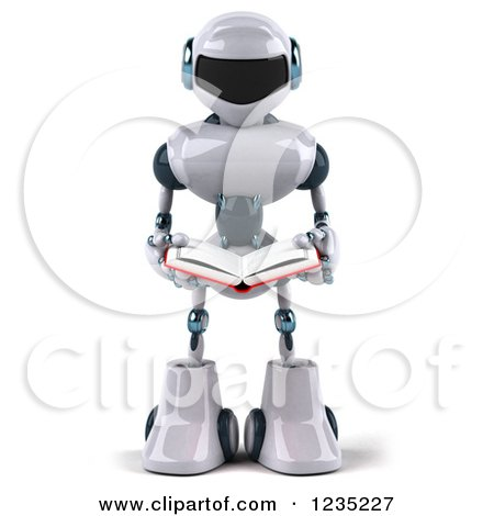 Clipart of a 3d White Male Techno Robot Reading a Book.