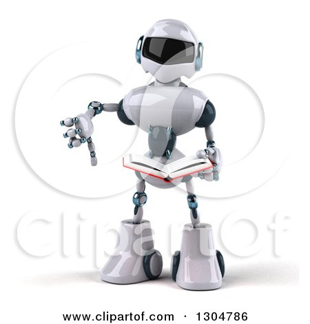 Clipart of a 3d White and Blue Robot Holding a Thumb down and.