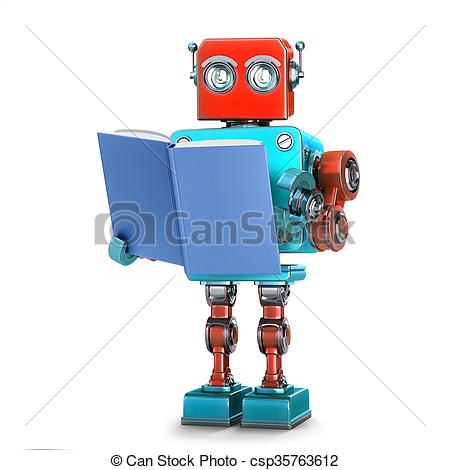 Clipart of Robot reading a book. Isolated. 3D illustration.