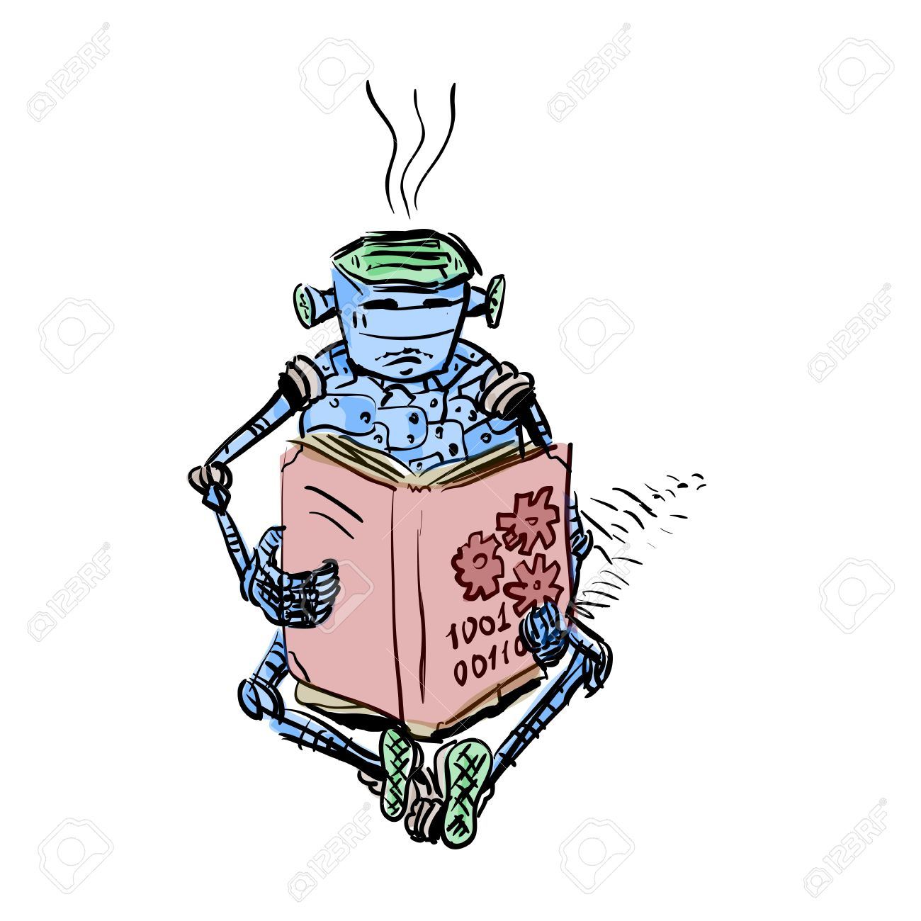 Illustration Robot And Education Android Reading Book Royalty Free.