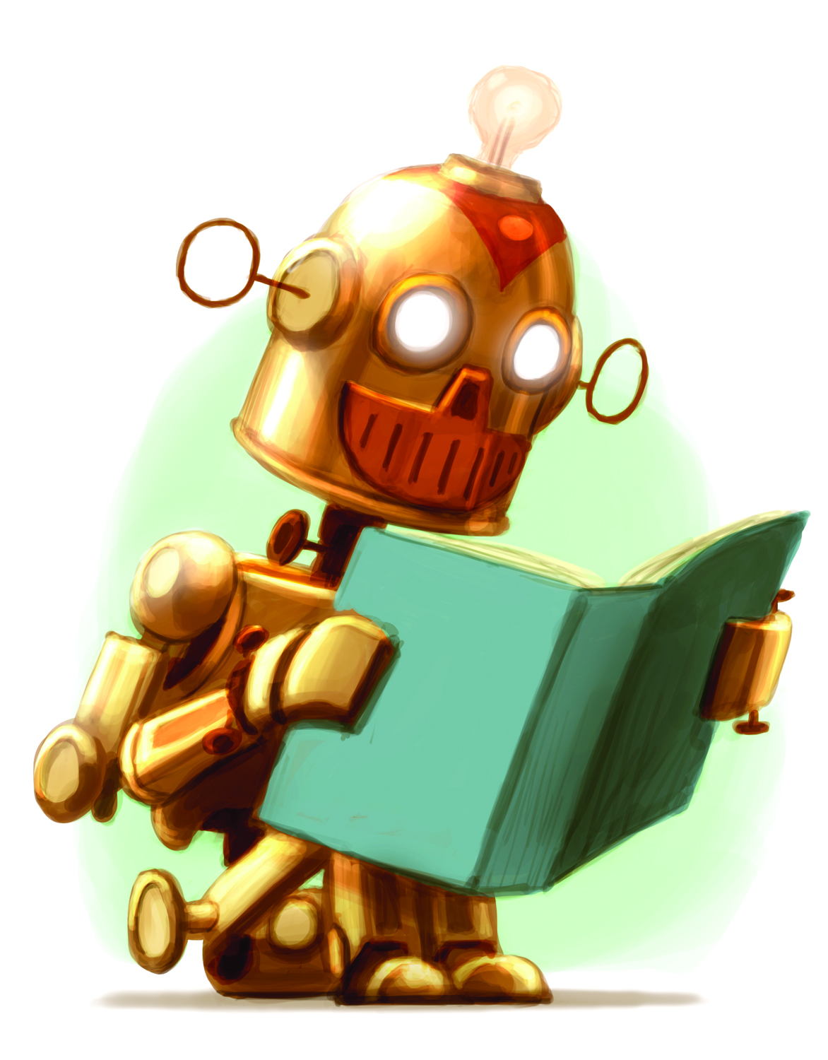 robot reading — Murphy Helwig Library.