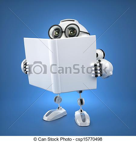 Stock Illustration of Android robot reading book. Rendered over.
