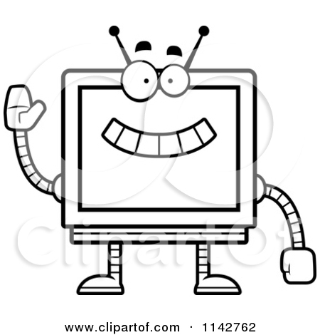 Cartoon Clipart Of A Black And White Sad Screen Robot.