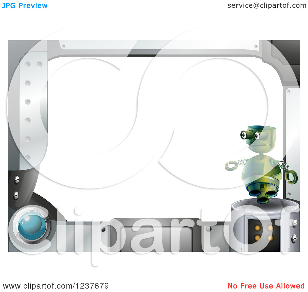 Clipart of a Futuristic Computer Screen and Jet Robot Frame with.