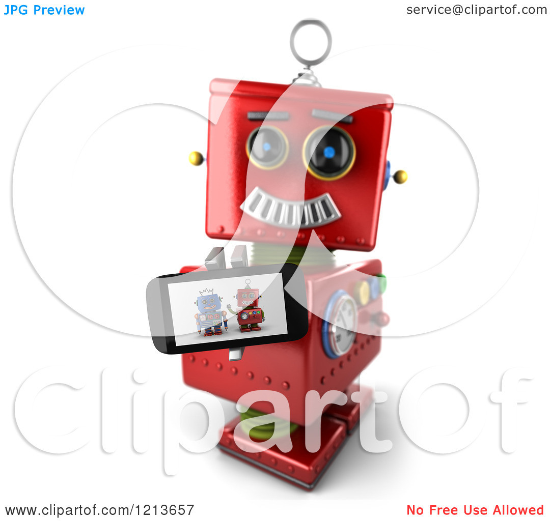 Clipart of a 3d Red Vintage Robot Holding up a Smart Phone with a.
