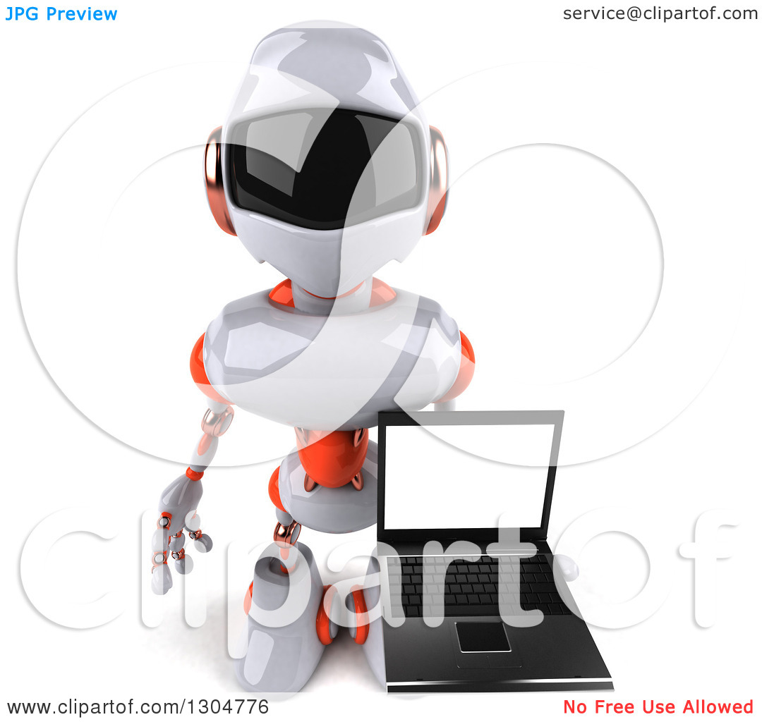 Clipart of a 3d White and Orange Robot Holding up a Laptop with a.