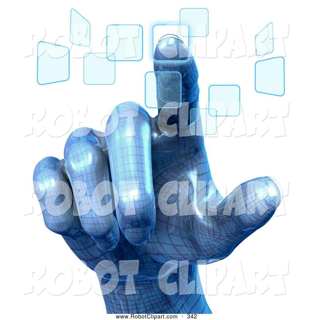 Clipart of a Blue Robotic Human Hand Pushing Touch Screen Buttons.