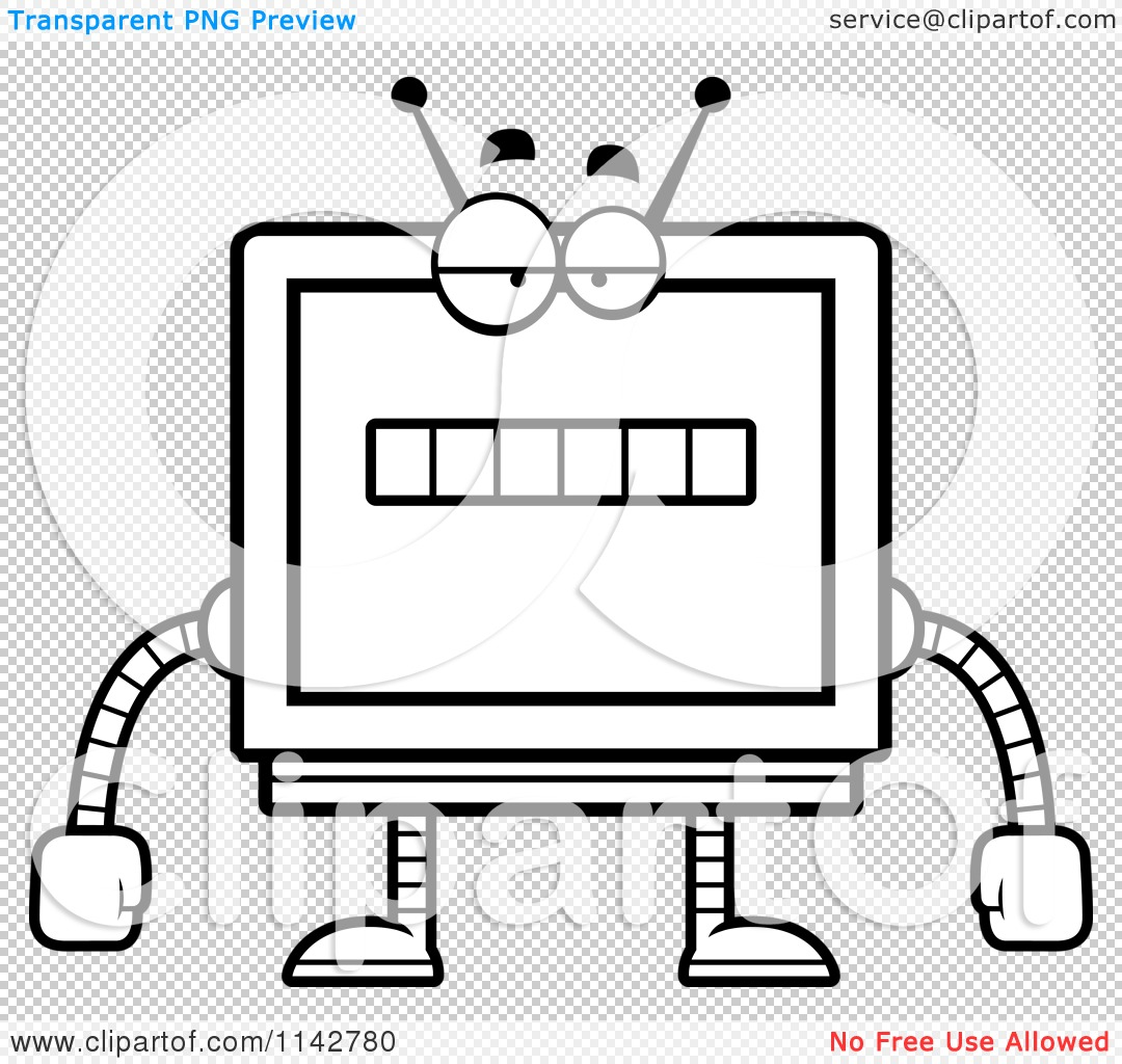 Cartoon Clipart Of A Black And White Bored Screen Robot.