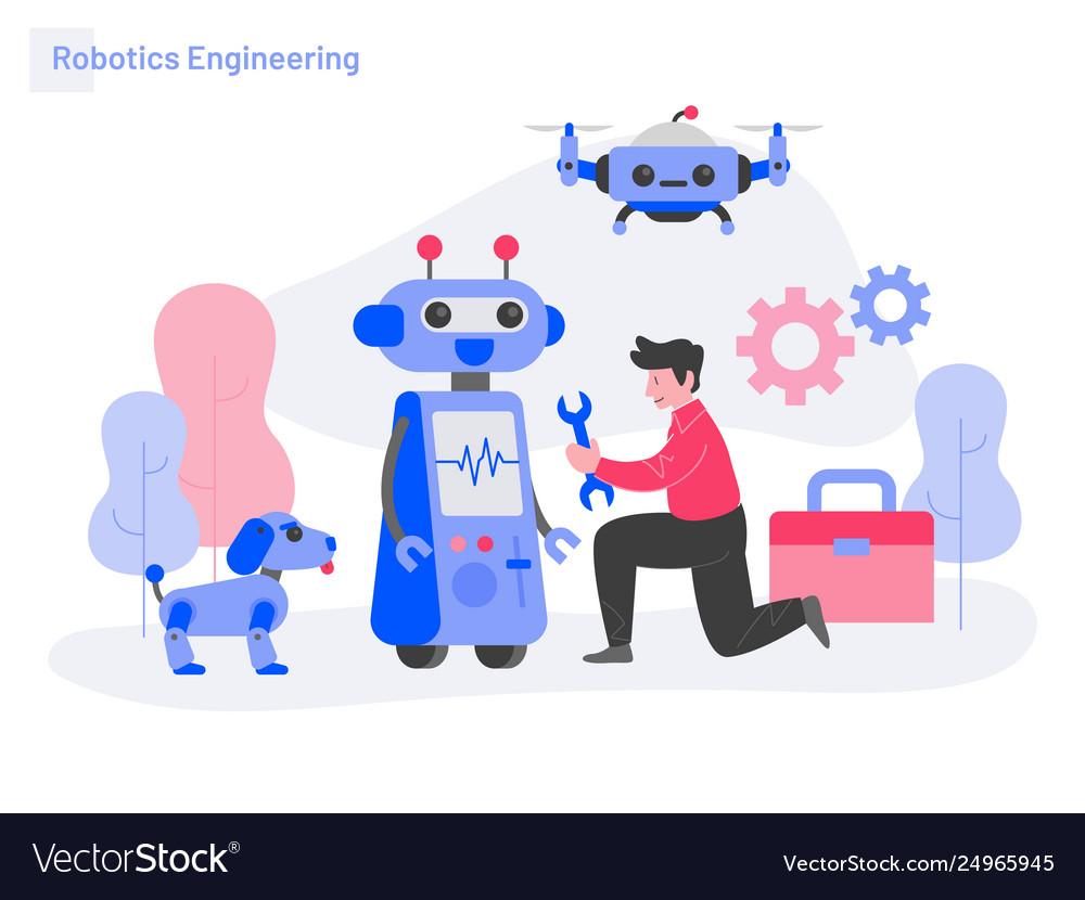 Robotics engineering concept modern flat design.