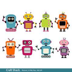 Robots Clip Art Instant Download.