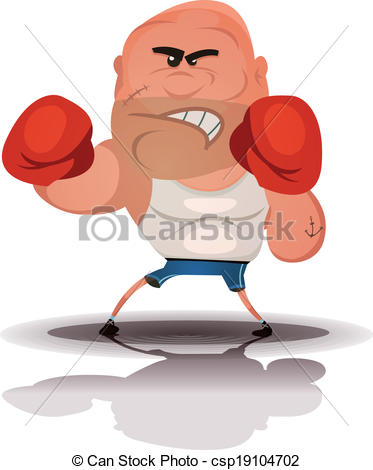 Vector Clipart of Cartoon Angry Boxer Champion.