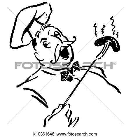 Stock Illustration of A black and white version of a robust chef.