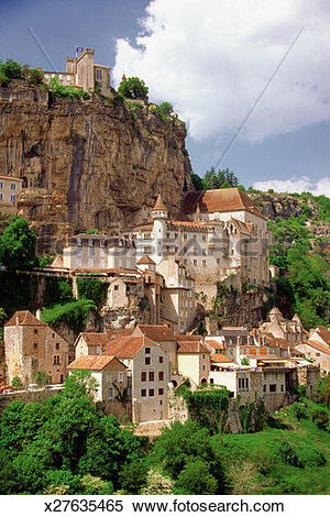 Stock Image of Rocamadour Castle on a hill, Dorgogne River Valley.