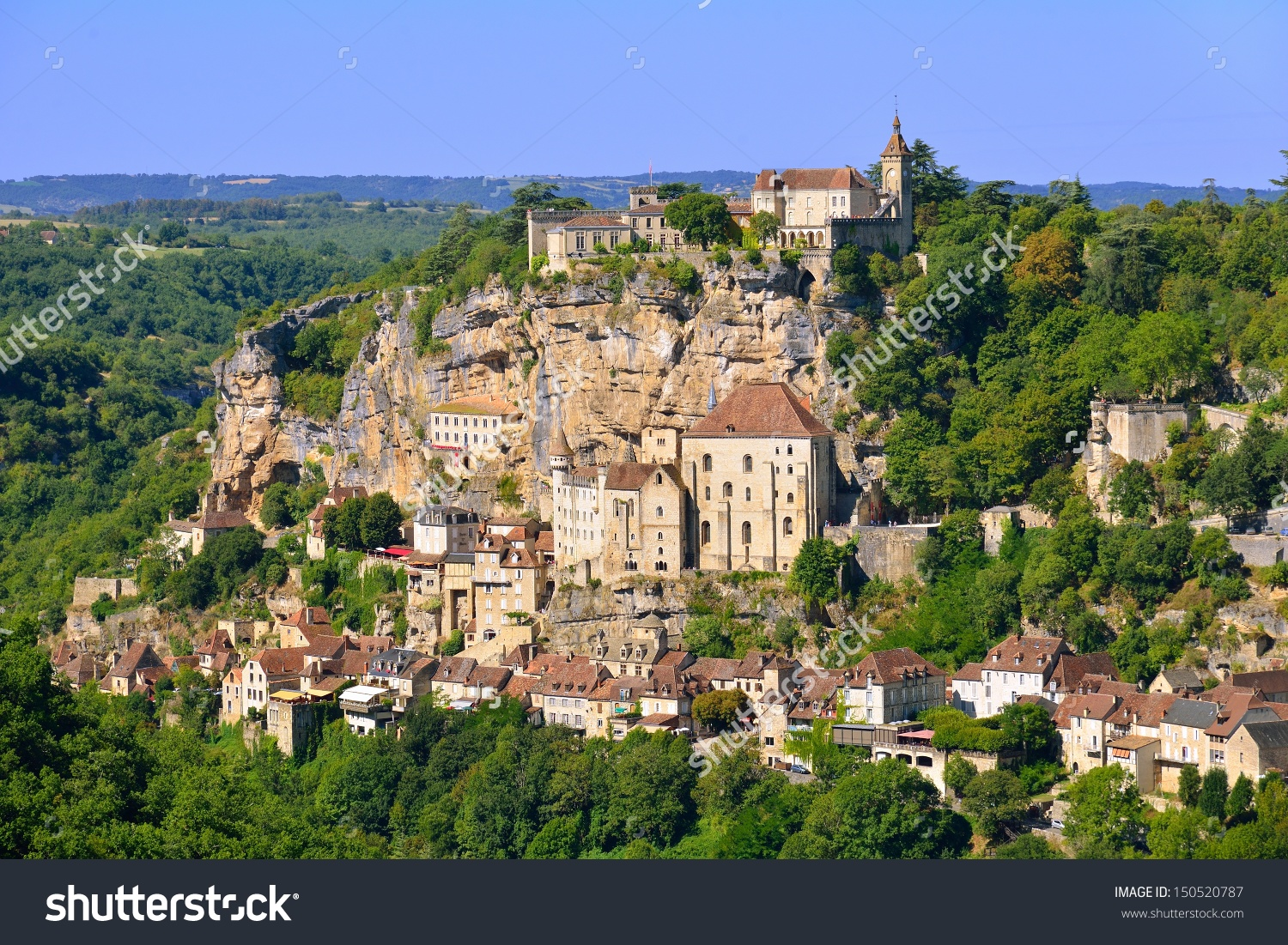 Rocamadour Beautiful French Village On Cliff Stock Photo 150520787.